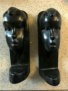 PAIR OF EBONY HAND CARVED  AFRICAN BOOKENDS - HIGH QUALITY