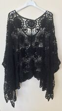 New Lagenlook Quirky Cotton CROCHET Poncho Oversized Layering Asymmetric Top Blk