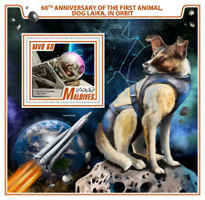 Maldives 2017 First Animal Dog Laika in Orbit Space 60th Aniv Russia S/S 907