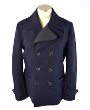 SELECTED Femme Military Pea Coat Navy Blue Jacket Wool Layered Cold Weather M