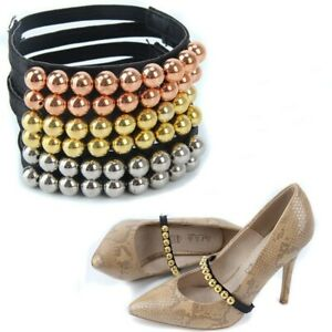 Women Anti-loose High Heels Pearl Shoe Strap Shoelaces With Buckle Replacement