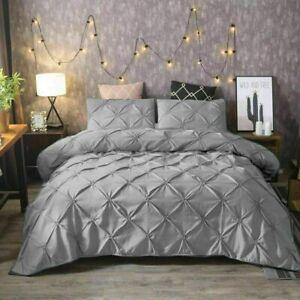 Pintuck Bedding Duvet Set  Cotton Quilt Cover Single Double Super King Size