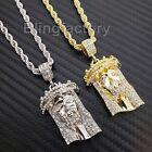Hip Hop Iced Lab Diamond Jesus Head Pendant & 4mm 24