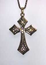 Betsey Johnson Necklace Gold Crystal Double Cross Shimmery Gift Box  Bag Lk