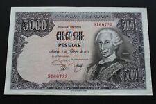 SPAIN 1976 5000 PESETAS SIN SERIE CARLOS III PICK#155 BANKNOTE VF+ CRISP