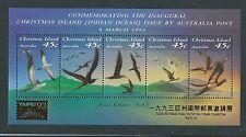 AUSTRALIA 1993 CHRISTMAS ISLAND BIRDS MINIATURE SHEET OVERPRINTED TAIPEI '93 UM