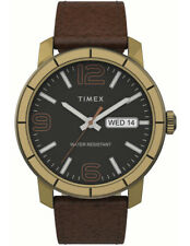 Timex TW2T72700, Men's MOD 44, Brown Leather Watch, Black Dial, Day/Date