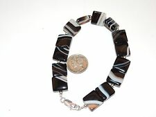 "Sterling Silver and 12mm Black and White Agate Bracelet 8 1/2"" (7813)"