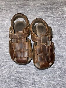 Stride Rite Boys Angler Dark Brown Leather Sandals Size 7 Medium