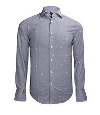 Billionaire Couture Men's Blue Patterned Cotton Shirt Paris Asain fit Watch cuff