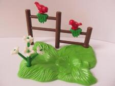 Playmobil fence, grass, flowers & birds NEW farm/countryside/dollshouse extras