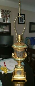 """Pair of ANTIQUE """"24K CROWN GOLD ENCRUSTED VICTORIA Czechoslovakian  LAMPS"""