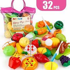 JoyGrow 32PCS Cutting Toys Play Food Fruits Vegetable Kitchen Playset