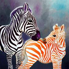Aabstrakte Acryl Bilder ORIGINAL moderne Kunst Malerei Leinwand Zebra mit Baby