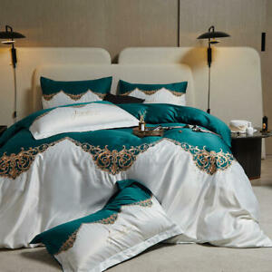 4pcs bedding set Heavy industry embroidery quilt cover flat sheet 2 pillowshames