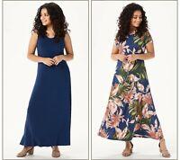 """As Is"" Attitudes by Renee Petite Jersey Set of 2 Maxi Dresses INK/DAHLIA XXS"