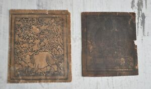 Antique Mongolian Tibetan Set of 2 Woodblock Prints on Paper Thangka Tsakli