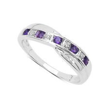STERLING SILVER 0.25ct AMETHYST & DIAMOND CHANNEL SET ETERNITY RING SIZES H to W