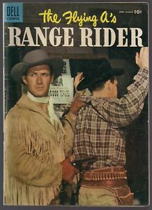 RANGE RIDER THE FLYING A's #10 DELL 1955 WESTERN SHOW JOCK MAHONEY PHOTO CVR FN-
