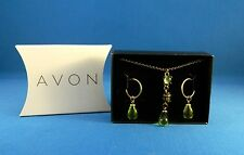 AVON Vibrant Glow Drop Necklace & Earrings Gift Set NEW Gold Green