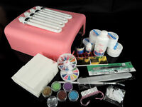 36W Lamp Bulbs Dryer Glitter Polish Nail Art UV Gel Manicure Curing Tips Set Kit