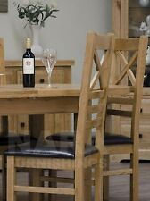 Grandeur solid oak furniture set of six cross back dining chairs