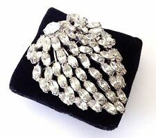 Vintage Signed 1950's Silver Tone WEISS Rhinestones Huge Round Brooch Pin