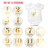Baby Girl Boy Infant Monthly Stickers Photo Props Baby Shower Decor 1-12 Months