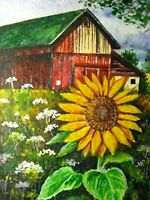 Watercolor Painting Country Farm Barn Sunflower Nature ACEO Art