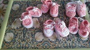 NEW. Baby Booties Handmade Crochet (Newborn /0-3months) Dusky Pink and White.