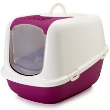 Large Litter Tray Covered Cat Loo Hooded Pet Box Carbon Filter White Red XXL UK