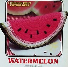 Crochet Luscious Fruit Potholders  Watermelon  AA