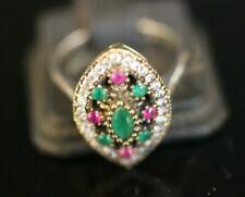 Turkish Handmade Jewelry Sterling Silver 925 Ruby Ladies Ring 7,5