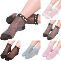LN_ SEXY LADY FAUX PEARL GLITTER TRANSPARENT LOW CUT ELASTIC SHORT ANKLE SOCKS