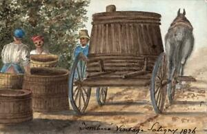 WINE MAKERS SATIGNY SWITZERLAND Watercolour Painting E CAMPBELL 1826 GRAND TOUR