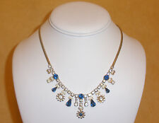 Sapphire Blue Rhinestone Evening Necklace w/ Filigree Heart Accents by Leo Glass