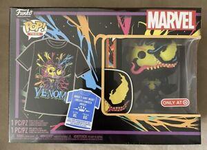 Funko Pop Marvel Venom Eddie Brock Black Light #869 w/ T-Shirt Target Size XL