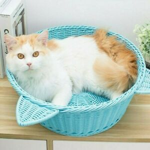 Handcraft Rattan Cat Bed Couch Cool Round PetKitty Sofa indoor Basket House Blue