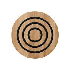 Ladelle Classic Round Bamboo Trivet, Charcoal Wooden Heatproof Mat Pan Dish Rest