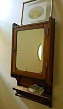 Antique Oak Cabinet Medicine Bathroom corner 1900's beleved glass , original key