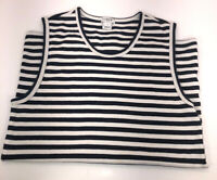J. Crew Navy Striped Tank Top Blue And White Size Small  H6021