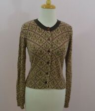 Fossil Anthropologie Brown Floral Magenta Fitted Cardigan Sweater Size M Medium