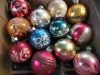 12 Vintage Glass Balls Christmas Ornaments