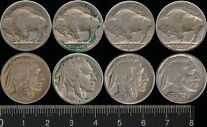 USA: 1919, 20, 36s, 37 Five Cents Buffalo Nickels (4)