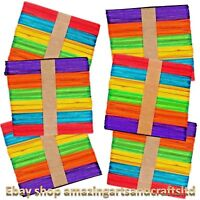 Wooden Lollipop Sticks Lolly Coloured Craft Crafts Lollies 300 Pieces Assorted