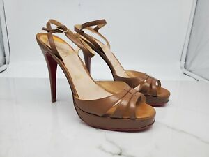 Christian Louboutin Womens Ankle Strap Brown Leather Heels Size 38.5