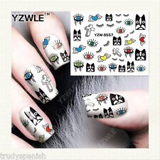 Nail Art Water Decals Halloween Eyes Cross Dogs Angel Wings Gel Polish (s286)