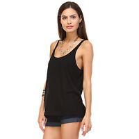 New Womens Black Solid Slouchy Tank Top Tops Flowy Loose Shirt Fashion S M L XL