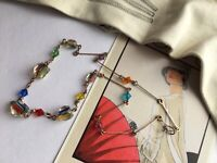 Art Deco Czech Multi Colour Crystal Glass Bead Rolled Gold Link Necklace