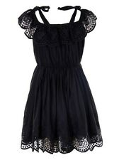 New Women Summer Holiday Black Beach Wear Off Shoulder Cotton Lace Frill Dress
